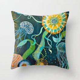 Three moons & a tropical sun Throw Pillow