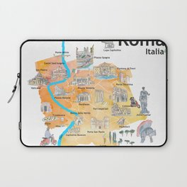 Rome Italy Illustrated Travel Poster Favorite Map Tourist Highlights Laptop Sleeve