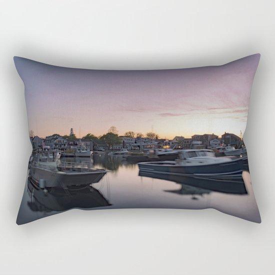 Rockport Harbor at twilight Rectangular Pillow