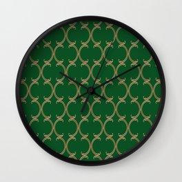 Gold Moroccan Lattice on Green Wall Clock