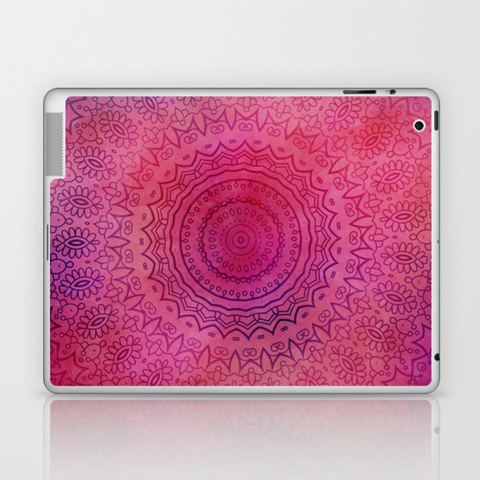 Watercolor Mandala Painting Red Pink Laptop & iPad Skin