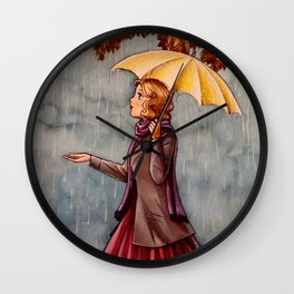 Yellow Umbrella Wall Clock