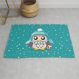 Cute Owl Make In Holiday Rug
