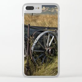 Old Broken Down Wooden Farm Wagon in the Grass Clear iPhone Case