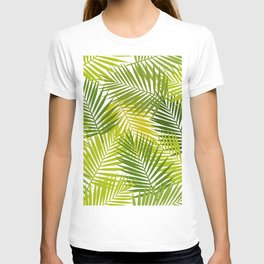 Palm leaf silhouettes seamless pattern. Tropical leaves. T-shirt