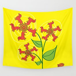 Doxie Flower Wall Tapestry