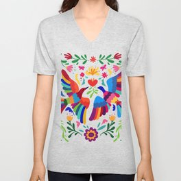 embroidery mexican floral  Unisex V-Neck