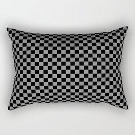 Black and Medium Gray Checkerboard Rectangular Pillow