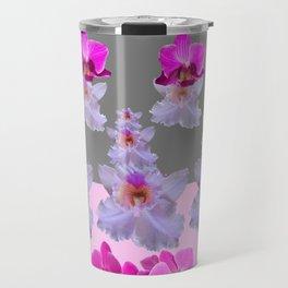 PURPLE  FUCHSIA ORCHIDS  SPRINKLES ON  GREY-PINK ART Travel Mug
