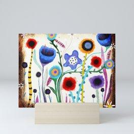 Grungy retro floral burned dusted still life Mini Art Print
