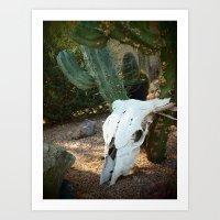 Desert Bull Skull Art Print