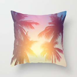 Coconut palm tree at tropical beach, colorful vintage tones Throw Pillow