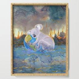Koala Loves Earth - Australian Surreal Climate Change  Serving Tray
