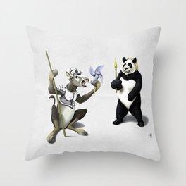 Donkey Xote and Sancho Panda (Wordless) Throw Pillow