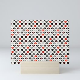 Retro Lips - Red, Grey and Black Pattern Mini Art Print
