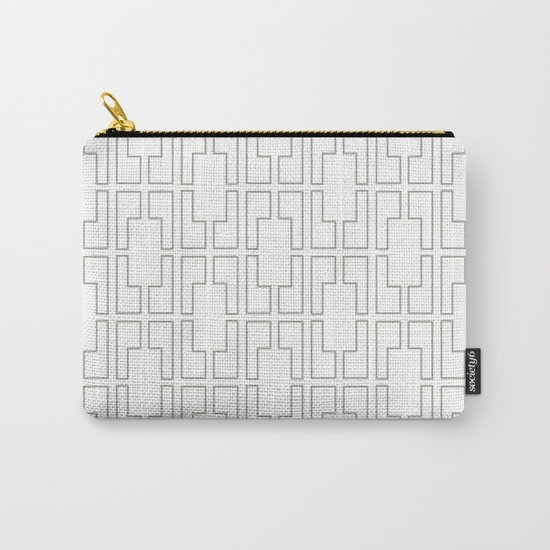 Simply Mid-Century Retro Gray on White Carry-All Pouch