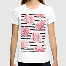 Simply Drawn Stripes and Roses T-shirt