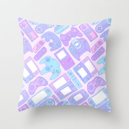 Video Game Controllers in Pastel Colors Throw Pillow