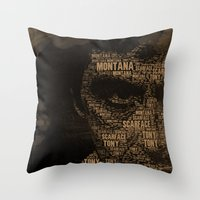 scarface Throw Pillows featuring Scarface by Diego Tirigall