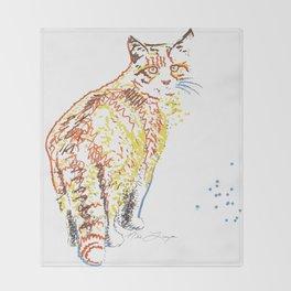 Whimsical Alley Cat Art Throw Blanket
