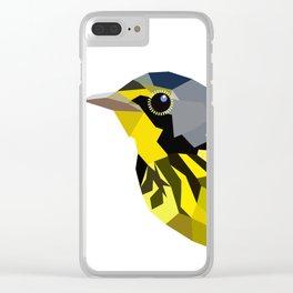 Bird art canada warbler Yellow gray Clear iPhone Case
