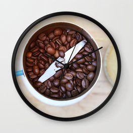coffee beans and the coffee mill Wall Clock
