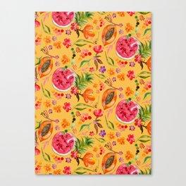 Tropical Fruit Festival in Yellow | Frutas Tropicales en Amarillo Canvas Print