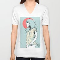 korea V-neck T-shirts featuring Korea Girl by Dave Long [A1W]