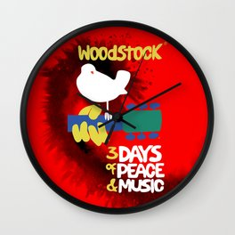 Woodstock 1969 (tie dye background) Wall Clock