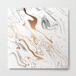Liquid Golden Marble 007 Metal Print