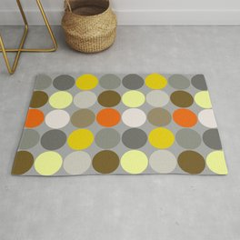 Mid-Century Giant Dots, Gray, Gold and Orange Rug