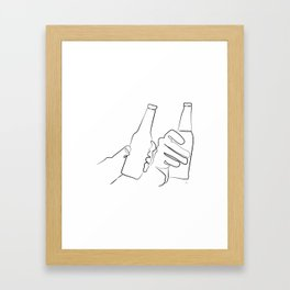 """ Kitchen Collection "" - Two Hands Holding Beer Bottles Framed Art Print"