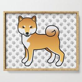 Red Shiba Inu Cute Cartoon Dog Serving Tray