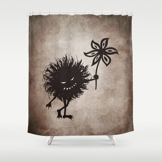 Evil Bug Gives Flower Shower Curtain