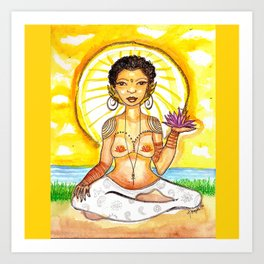 Sunlight Yoga Goddess Art Print