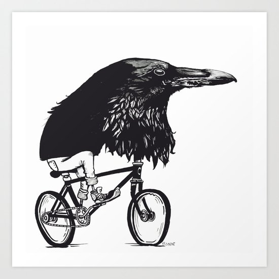Black Bird Riding Art Print