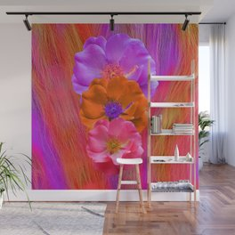 Faux Fur and Flowers Wall Mural