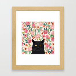 Black Cat cat breed floral pattern background pet gifts cats kitten mom gifts Framed Art Print