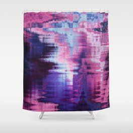 Violet Abstract Glitch effect Shower Curtain