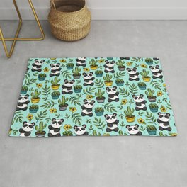 Panda Bear Print, Baby Panda, Blue and Green, Cute Panda Pattern Rug