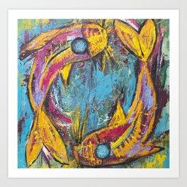 Koi Fish Yin Yang Abstract Art Print