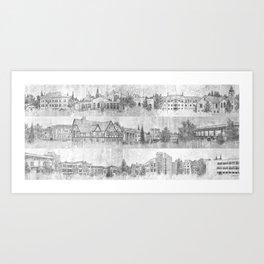 University of Northern Colorado (Black & White) Art Print