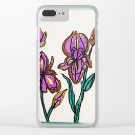 Iris with glitter Clear iPhone Case