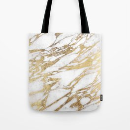 Chic Elegant White and Gold Marble Pattern Tote Bag