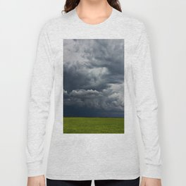 Supercell storm clouds above meadow with green grass Summer Storm clouds Long Sleeve T-shirt