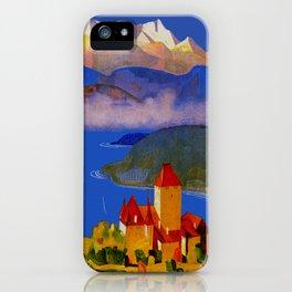 Vintage Spiez Switzerland Travel Poster iPhone Case