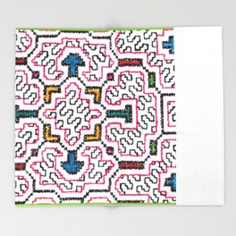 Physical Healing Icaro - Traditional Shipibo Art - Indigenous Ayahuasca Patterns Throw Blanket