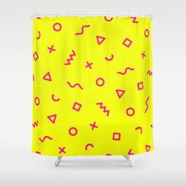 Bright Yellow & Pink Memphis Shower Curtain