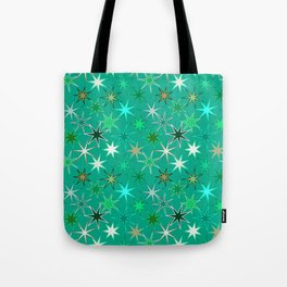 Modern Starburst Print, Turquoise and Aqua Tote Bag