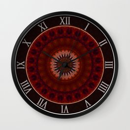 Mandala in red and orange tones Wall Clock